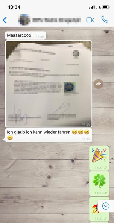 WhatsApp MPU Auszug